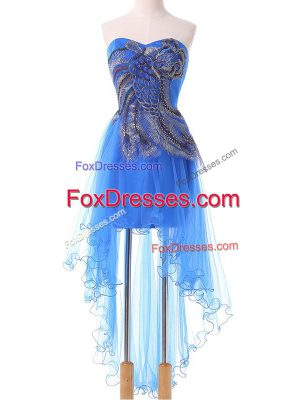 Fancy Sweetheart Sleeveless Lace Up Blue Tulle