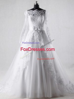 White Tulle Zipper Wedding Dress Long Sleeves Brush Train Lace and Belt