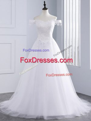 Suitable White Lace Up Off The Shoulder Lace and Appliques Wedding Gown Tulle Sleeveless