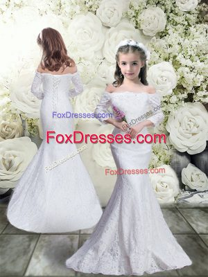 Mermaid Flower Girl Dresses for Less White Off The Shoulder Lace 3 4 Length Sleeve Floor Length Lace Up