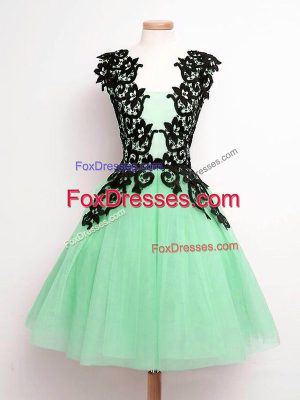 Romantic Knee Length Apple Green Bridesmaid Dresses Straps Sleeveless Lace Up