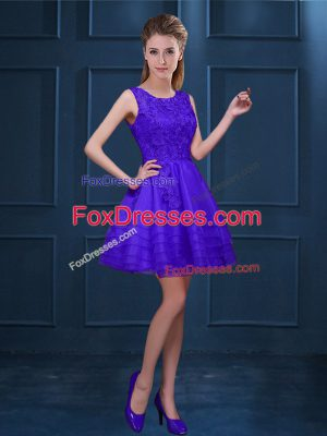 Best Selling Sleeveless Knee Length Lace and Ruffled Layers Zipper Court Dresses for Sweet 16 with Purple