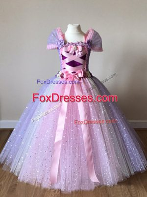 Off The Shoulder Cap Sleeves Tulle Little Girls Pageant Gowns Sequins and Bowknot Side Zipper