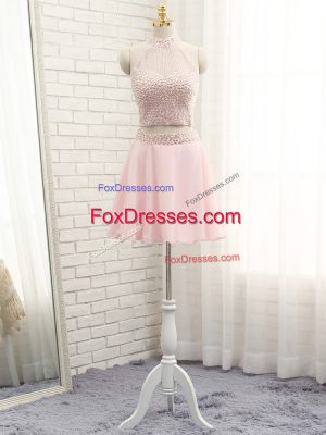 Comfortable Pink Sleeveless Beading Mini Length Prom Party Dress