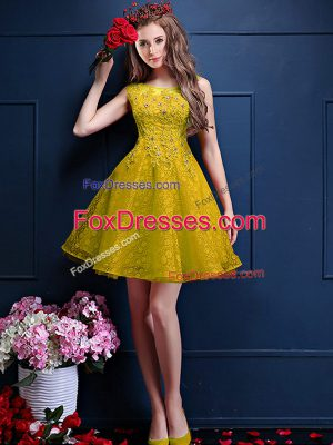 Romantic Yellow Tulle Lace Up Bateau Sleeveless Knee Length Quinceanera Court of Honor Dress Beading and Lace