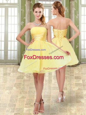 Luxury Sleeveless Mini Length Beading and Ruching Lace Up Evening Dress with Yellow
