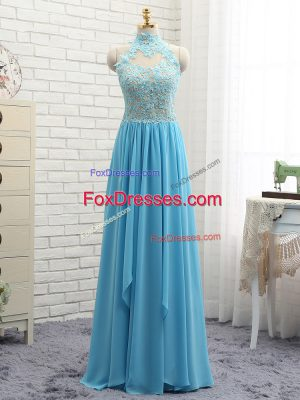 Baby Blue Sleeveless Floor Length Appliques Backless Prom Gown