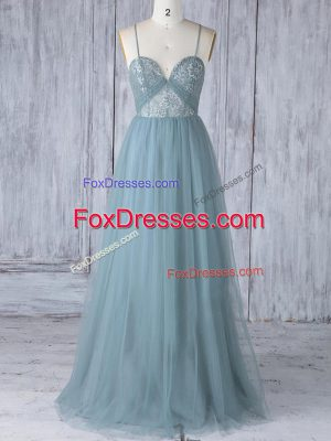 Tulle Spaghetti Straps Sleeveless Criss Cross Appliques Bridesmaid Dresses in Grey