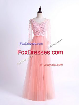 Romantic Pink Tulle Lace Up V-neck Half Sleeves Floor Length Damas Dress Lace