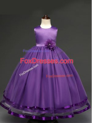 Purple Zipper Flower Girl Dress Hand Made Flower Sleeveless Floor Length