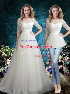 Sophisticated Zipper Wedding Dresses White for Beach and Wedding Party with Beading Brush Train