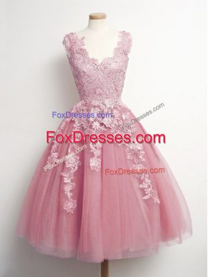 Tulle V-neck Sleeveless Lace Up Appliques Damas Dress in Pink