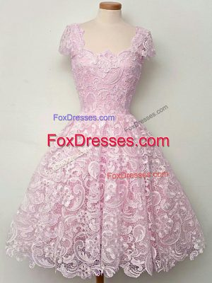 Cap Sleeves Lace Knee Length Lace Up Wedding Party Dress in Lilac with Lace