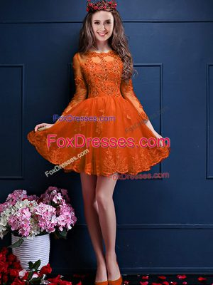 Orange Red A-line Chiffon Scalloped 3 4 Length Sleeve Beading and Lace and Appliques Mini Length Lace Up Wedding Guest Dresses