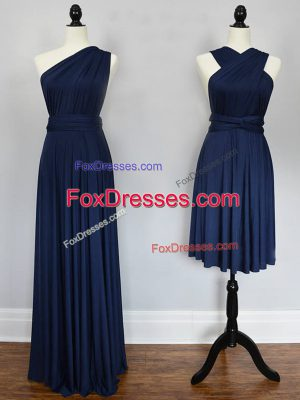 Best Selling Floor Length Empire Sleeveless Navy Blue Bridesmaids Dress Lace Up
