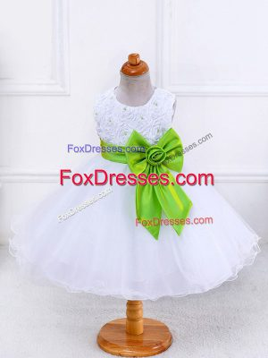 White Zipper Scoop Bowknot Party Dress for Toddlers Organza Sleeveless