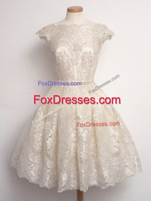 Modest Champagne Lace Up Bridesmaid Gown Lace Cap Sleeves Knee Length