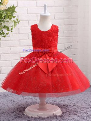 Fantastic Red Sleeveless Tulle Zipper Little Girls Pageant Dress Wholesale for Wedding Party