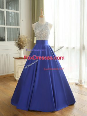 Floor Length Blue Prom Dresses Scoop Sleeveless Backless