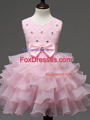 Baby Pink Ball Gowns Lace and Ruffled Layers and Bowknot Kids Formal Wear Zipper Organza Sleeveless Knee Length
