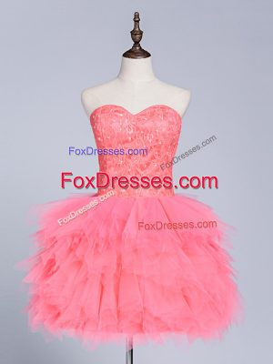 Sweetheart Sleeveless Lace Up Homecoming Dress Watermelon Red Tulle