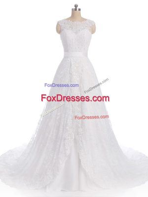 White Wedding Dresses Lace Brush Train Sleeveless Lace