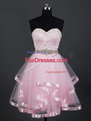 Comfortable Sleeveless Mini Length Beading and Lace and Ruffles Zipper Damas Dress with Baby Pink