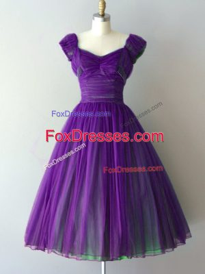 Gorgeous Knee Length Purple Quinceanera Court of Honor Dress Chiffon Cap Sleeves Ruching