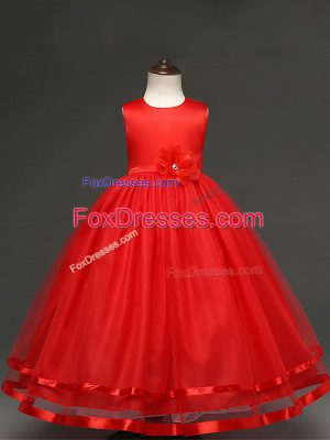 Noble Red Scoop Zipper Hand Made Flower Flower Girl Dresses for Less Sleeveless