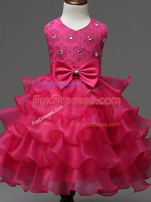 Latest Sleeveless Organza Knee Length Zipper Child Pageant Dress in Hot Pink with Lace and Ruffled Layers and Bowknot