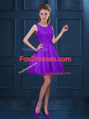 Sleeveless Tulle Knee Length Zipper Damas Dress in Purple with Lace and Ruffled Layers