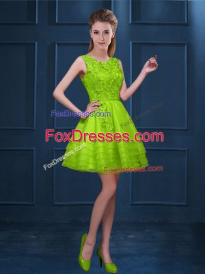 Charming Knee Length Green Dama Dress Tulle Sleeveless Lace and Ruffled Layers