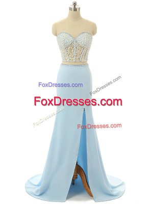 Sleeveless Elastic Woven Satin Brush Train Zipper Evening Dress in Light Blue with Beading