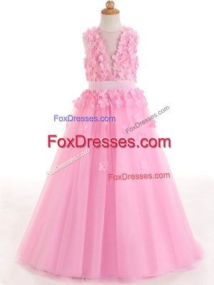 Custom Fit Rose Pink Tulle Zipper Scoop Sleeveless Floor Length Little Girls Pageant Dress Appliques and Bowknot