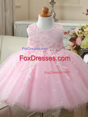 Sweet Scoop Sleeveless Party Dress Wholesale Knee Length Appliques and Bowknot Baby Pink Tulle