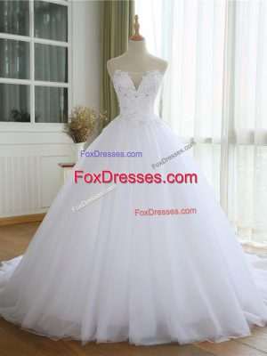 White Tulle Lace Up Wedding Dress Sleeveless Court Train Lace and Appliques