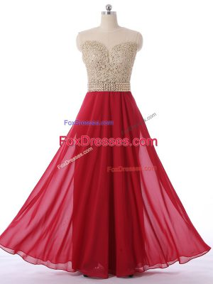 Charming Red Sleeveless Beading Floor Length Quinceanera Court Dresses
