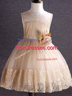 Low Price Knee Length Zipper Flower Girl Dresses Champagne and In with Lace and Hand Made Flower