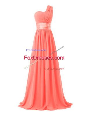 Luxury One Shoulder Sleeveless Lace Up Bridesmaid Gown Watermelon Red Chiffon