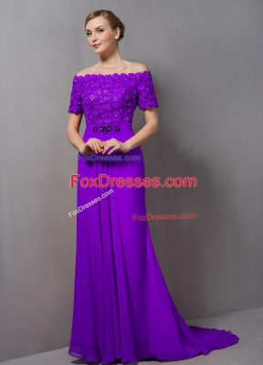 Eggplant Purple Short Sleeves Chiffon Sweep Train Zipper Mother of Bride Dresses for Prom and Party