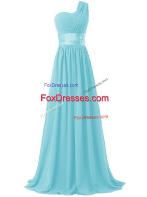 Aqua Blue Chiffon Lace Up One Shoulder Sleeveless Floor Length Damas Dress Ruching