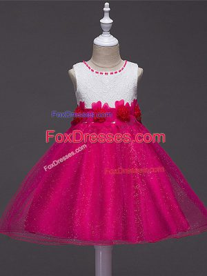 Popular Hot Pink Sleeveless Tulle Zipper Little Girls Pageant Gowns for Wedding Party