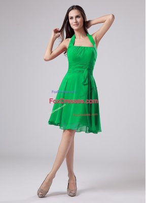 Decent Green Short Sleeves Chiffon Zipper Mother Of The Bride Dress for Prom and Party