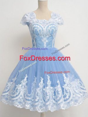 Hot Sale Light Blue Cap Sleeves Lace Knee Length Dama Dress