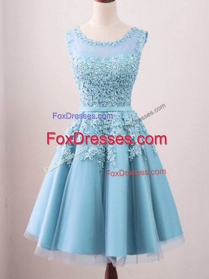 Luxury Aqua Blue Zipper Scoop Lace Wedding Guest Dresses Tulle Sleeveless