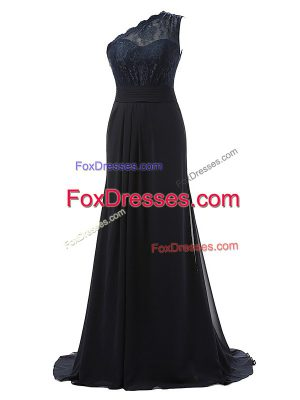 One Shoulder Sleeveless Brush Train Side Zipper Quinceanera Dama Dress Black Chiffon