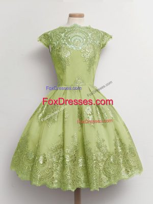 Yellow Green Cap Sleeves Knee Length Lace Lace Up Dama Dress for Quinceanera