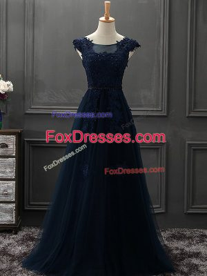 Tulle Sleeveless Mini Length Mother of Groom Dress and Beading and Lace and Appliques