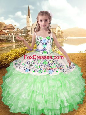 Enchanting Apple Green Organza and Taffeta Lace Up Straps Sleeveless Floor Length Little Girls Pageant Gowns Embroidery and Ruffled Layers