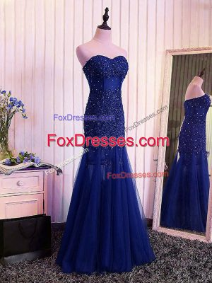 Custom Design Sweetheart Sleeveless Tulle Juniors Evening Dress Beading and Lace and Appliques and Pleated Lace Up